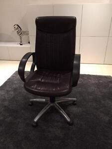 Brown Leather Executive High Back Office Chair Manly Brisbane South East Preview