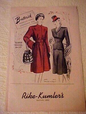 November 1945 Butterick Fashion News Pattern Brochure Rike-Kumler's Dayton OH