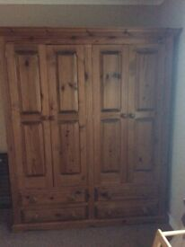 Solid Pine double wardrobe with drawers