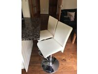 Two Cream Leather Adjustable Bar Stools/Chairs - good condition