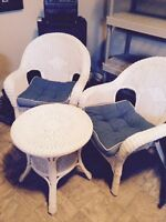 3 Piece white wicker chair and table set $150.00