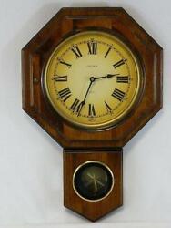 Verichron Schoolhouse Wall Clock Pendulum Hinged Door Glass Face Wood Quartz USA