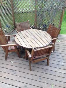 Hand Made Wooden Patio Table and 4 Chairs
