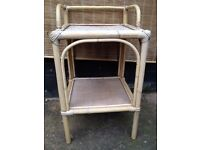 Worn *WICKER* Wooden Bedside Plant Shelving Storage Shabby Chic Painting Project