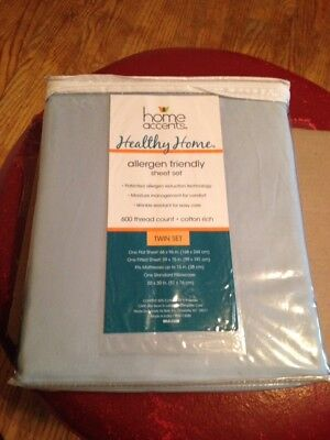 Home Accents 600 Thread Count 3 Piece Cotton Rich Twin Sheet Set