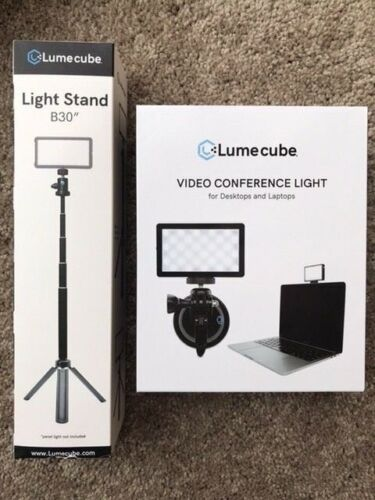 """Lume Cube Video Conference Light w Softening Diffuser and 30"""" Light Stand- NEW"""