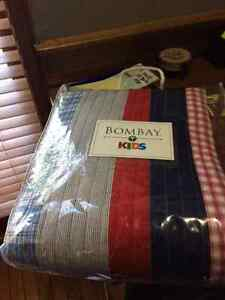 NEW Bombay red white and blue twin quilt.