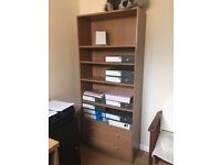 Medium oak effect tall bookcase