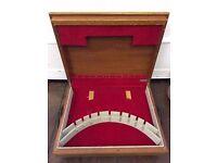 Retro Teak? WOODEN CUTLERY Box Canteen FLEXFIT Red Felt Lining & Black Legs