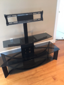 Glass and Metal Entertainment Centre with Swivel TV Mount
