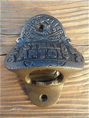 FANTASTIC ANTIQUE STYLE STELLA ARTOIS BAR WALL MOUNTED BOTTLE OPENER BEER TOP