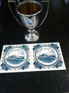 Small Trophy and 2 Delft tiles - MS Zuiderdam