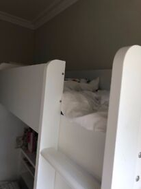 £75 OBO IKEA kids loft bed, white, includes mattress. Used, but like new condition