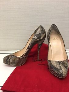 Authentiques Louboutin 39.5 Serpent / snake skin 120mm