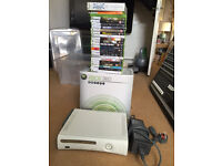 Boxed Xbox 360 console bundle with 2 controllers and 36 games including new and rare games