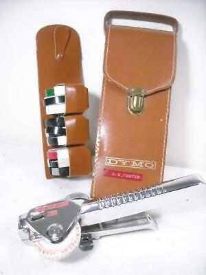 Vintage Dymo M-5 Metal Label Maker Tapewriter With Leather Case Tapes