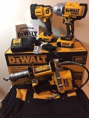 "Dewalt 20V Max 1/2"" Impact Wrench , Grease Gun, Spot Light Combo Kit DCK397HM2"