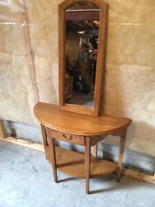Solid Oak Console and Mirror
