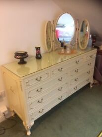 Bedroom cream chest of drawers, vintage boutique style, glass top to protect cream paintwork