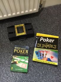 Poker Set in aluminium case, Roulette set and Poker books. Excellent condition.
