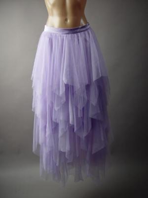 Lavender Tulle Tier Handkerchief Long Tutu Fairy Nymph Pixie 237 mv Skirt S M L - Lavender Tutu