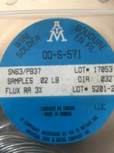 Solder .032 Sn63/Pb37 Resin Core  For Electronic Circuit-Boards ect  .02 LB