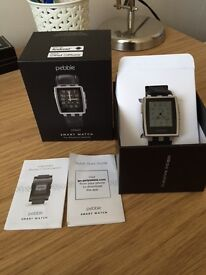 Smart Watch pebble steel with leather strap