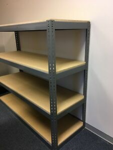 Solid Metal Shelving with Wood - REDUCED