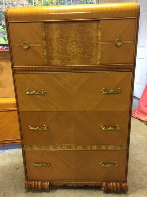 5 piece Art Deco Waterfall Vintage Bedroom Set.