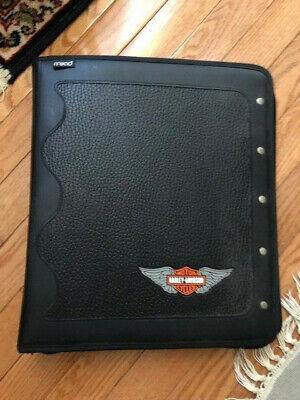 Mead Harley Davidson Motorcycles Black Zippered 3 Ring Binder Portfolio New Rare