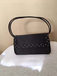 BLACK BEADED PURSE/party/evening bag with handles/strap