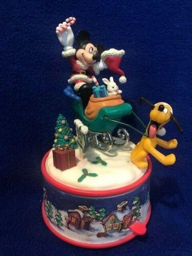 Disney Santa Mickey Mouse Pluto Christmas Sleigh Motion Music Figure Enesco