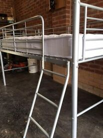 Boys / Girls Silver Metal raised bed with mattress
