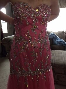 Size 18 Pink Strapless Fit and Flare Prom Dress
