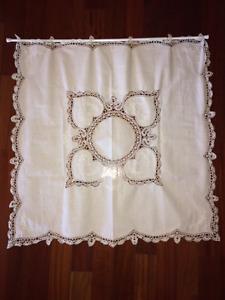 REDUCED!  Gorgeous White Battenburg Lace & Linen Curtain & Rod!