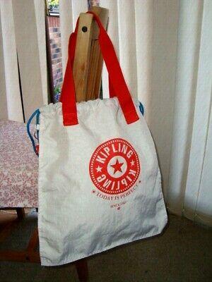 AUTHENTIC KIPLING HIPHURRAY TOTE SHOPPER ECO SHOULDER BAG WHITE & ORANGE