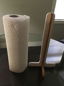 Bamboo wood paper towel holder