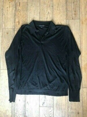 John Smedley Men's black collared cotton jumper