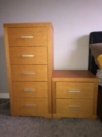 Tall Chest of Drawers and 2x Bedside Tables
