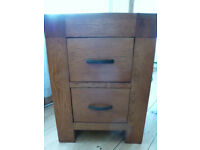 Contemporary CHUNKY SOLID aged OAK Two DRAWER CHEST of DRAWERS Iron Handles CABINET Storage