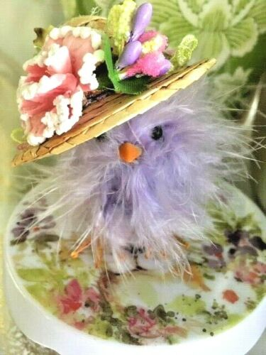 Silly Purple FEATHER CHICK in SASSY EASTER HAT-Decoration WILL SHIP AS GIFT