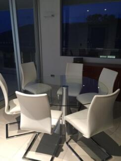 Glass dining table and leather chairs , 6 moths old , perfect con Queenscliff Manly Area Preview