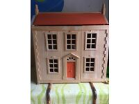 Dolls house - wooden, Georgian style by Plan Toys complete with furniture and dolls