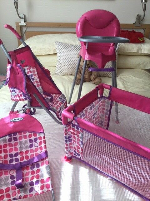 Graco Baby Doll Nursery Set Cot Highchair Pushchair With Bag Change Mat Bouncer