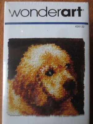 "latch hook rug kit yellow lab puppy love wonderart caron 12""x12"" nip PLUS TOOL"