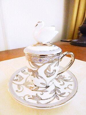 Prouna HERA Covered Mocca Cup & Saucer SWAN  Mocha Espresso Cappuccino - NEW!