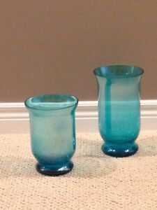 Two Blue Glass Decorative Vases London Ontario image 1