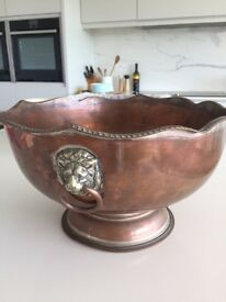 Torquay: Silver on copper shabby chic antique punch bowl £20