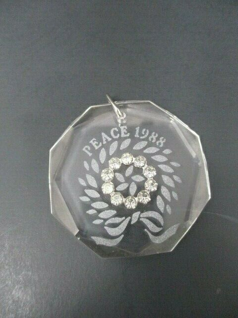 Swarovski Crystal 1988 Peace Etched Limited Edition Christmas Ornament