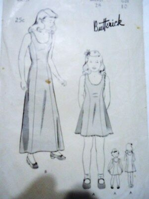 UNPRINTED 40s Vtg BUTTERICK PATTERN 2281 size 10 girls slip petticoat original
